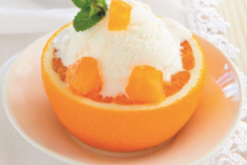 גלידת וניל עם תפוז ושמן שומשום קלוי